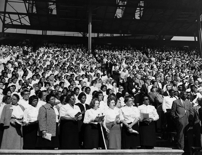 Integrated crowd at Billy Graham Crusade